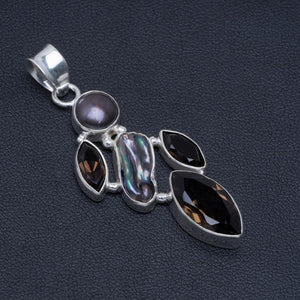 "Natural Smoky Quartz,Biwa Pearl and Iron Handmade Unique 925 Sterling Silver Pendant 2"" A4859"