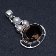 "Natural Smoky Quartz and River Pearl Handmade Unique 925 Sterling Silver Pendant 1.5"" A4860"