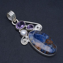 "Natural Orange Sodalite,River Pearl and Amethyst Handmade Unique 925 Sterling Silver Pendant 2"" A4867"