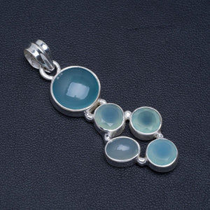 "Natural Chalcedony Handmade Unique 925 Sterling Silver Pendant 2"" A4882"