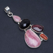 "Natural Rhodochrosite,Red Coral,Amethyst and Black Onyx Unique 925 Sterling Silver Pendant 2.5"" A4890"
