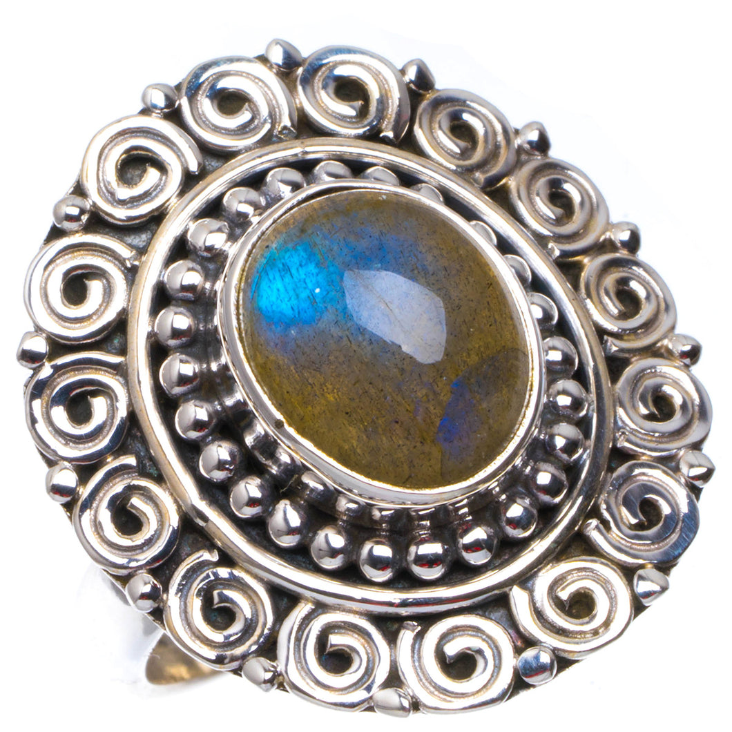 Natural Blue Fire Labradorite Handmade Unique 925 Sterling Silver Ring 8 B1004