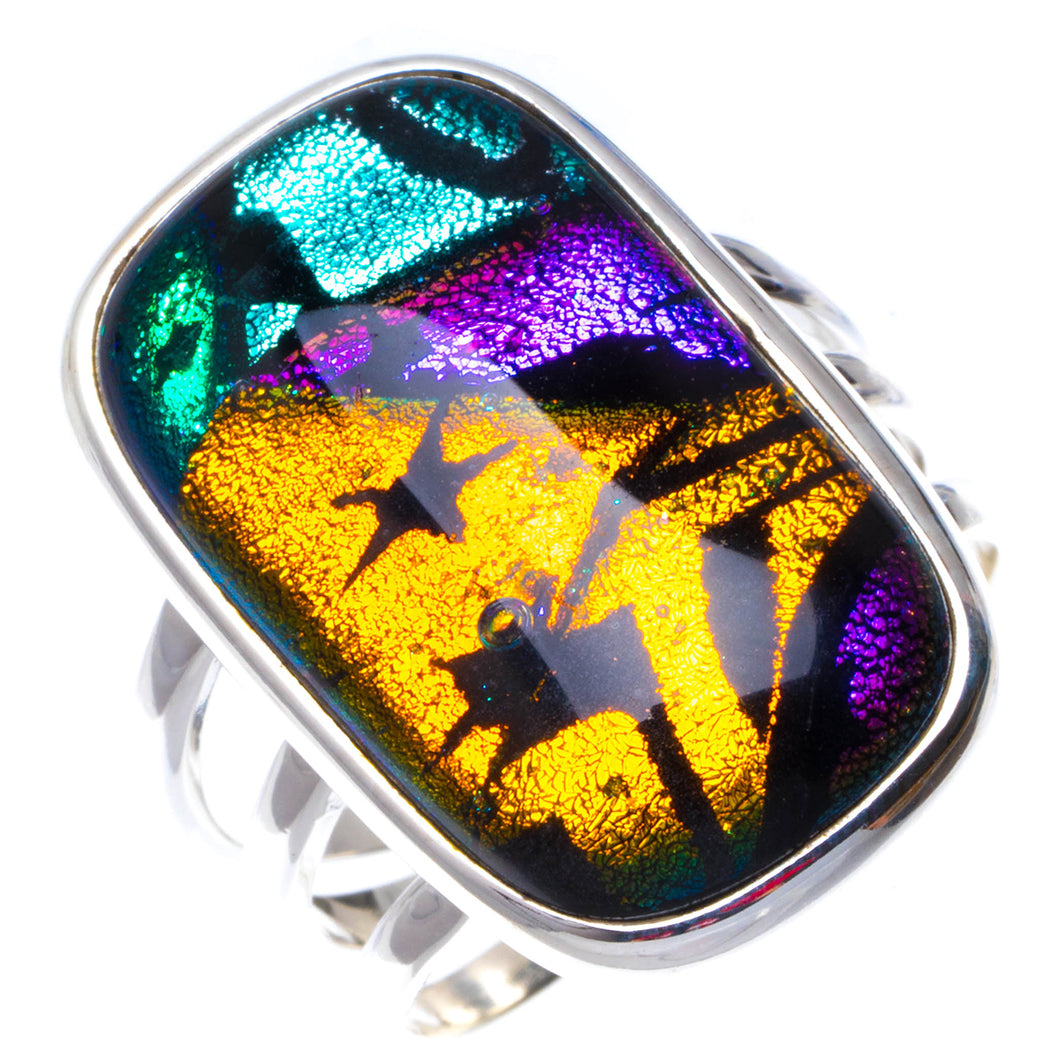 Natural Rainbow Dichroic Glass Handmade Unique 925 Sterling Silver Ring 8 B1114