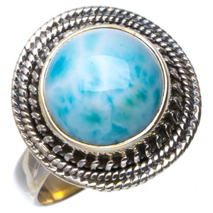 Natural Caribbean Larimar Handmade Unique 925 Sterling Silver Ring 8 B1225
