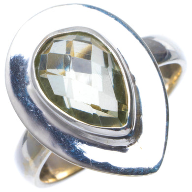 Natural Green Amethyst Handmade Unique 925 Sterling Silver Ring 7.75 B1412