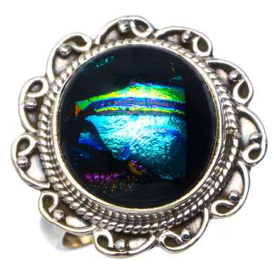 Natural Rainbow Dichroic Glass Handmade Unique 925 Sterling Silver Ring 6.75 B1418