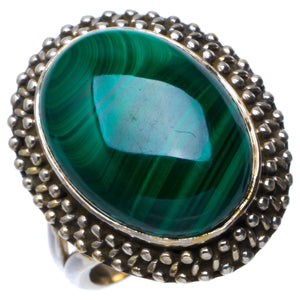 Natural Malachite Handmade Unique 925 Sterling Silver Ring 6.25 B1425