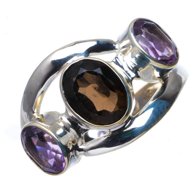 Natural Smoky Quartz And Amethyst Handmade Unique 925 Sterling Silver Ring 9.25 B1428