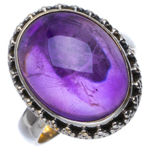 Natural Amethyst Handmade Unique 925 Sterling Silver Ring 6.25 B1430