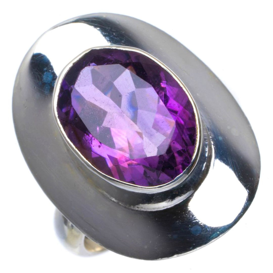Natural Amethyst Handmade Unique 925 Sterling Silver Ring 7.25 B1768
