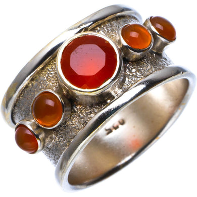 Natural Carnelian Handmade Unique 925 Sterling Silver Ring 9.25 B1800