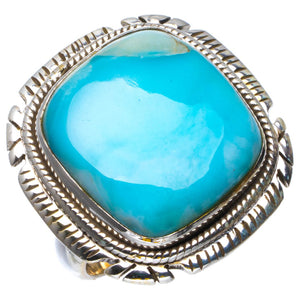 Natural Caribbean Larimar Handmade Unique 925 Sterling Silver Ring 5.75 B1802