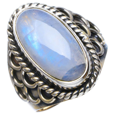 Natural Rainbow Moonstone Handmade Unique 925 Sterling Silver Ring 7.5 B1804