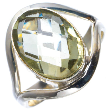 Natural Green Amethyst Handmade Unique 925 Sterling Silver Ring 8.25 B1806