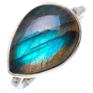Natural Blue Fire Labradorite Handmade Unique 925 Sterling Silver Ring 6.25 B1808