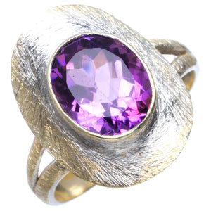 Natural Amethyst Handmade Unique 925 Sterling Silver Ring 9 B1809