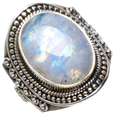 Natural Rainbow Moonstone Handmade Unique 925 Sterling Silver Ring 6.75 B1811