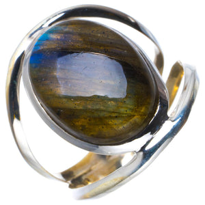 Natural Blue Fire Labradorite Handmade Unique 925 Sterling Silver Ring 8.75 B1813