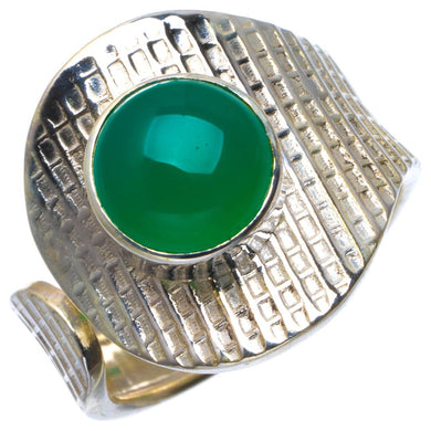 Natural Chrysoprase Handmade Unique 925 Sterling Silver Ring 7.75 B1814