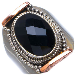 Natural Black Onyx Handmade Unique 925 Sterling Silver Ring 7.5 B1821