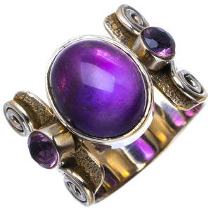 Natural Amethyst Handmade Unique 925 Sterling Silver Ring 6.5 B1823