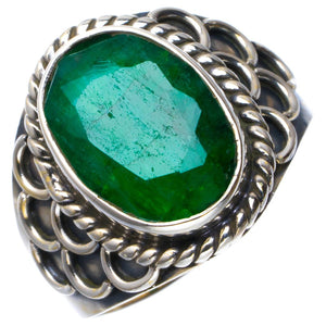Natural Emerald Handmade Unique 925 Sterling Silver Ring 8.5 B1843