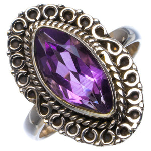Natural Amethyst Handmade Unique 925 Sterling Silver Ring 7 B1846