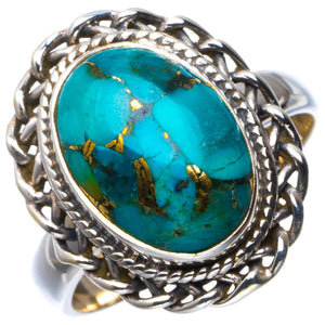 Natural Copper Turquoise Handmade Unique 925 Sterling Silver Ring 8.75 B1851