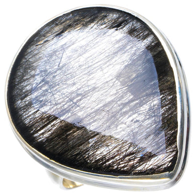 Natural Rutilated Quartz Handmade Unique 925 Sterling Silver Ring 8.25 B1854