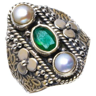 Natural Emerald And River Pearl Handmade Unique 925 Sterling Silver Ring 8 B1856