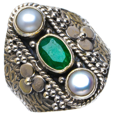Natural Emerald And River Pearl Handmade Unique 925 Sterling Silver Ring 7.5 B1859