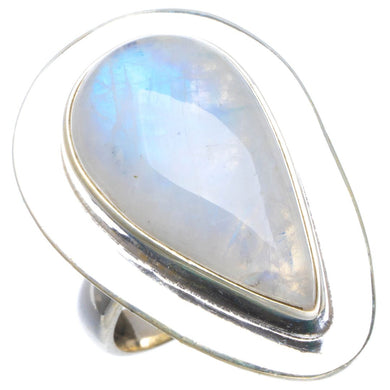 Natural Rainbow Moonstone Handmade Unique 925 Sterling Silver Ring 6.5 B1860