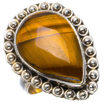 Natural Tiger Eye Handmade Unique 925 Sterling Silver Ring 8 B1861