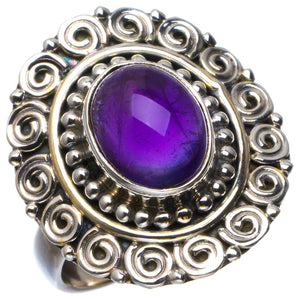 Natural Amethyst Handmade Unique 925 Sterling Silver Ring 8 B1864