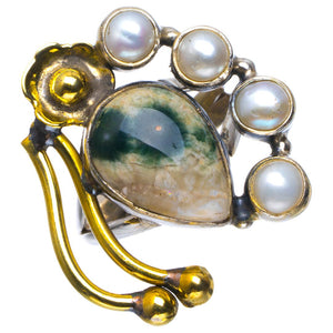 Natural Ocean Jasper And River Pearl Handmade Unique 925 Sterling Silver Ring 6.5 B1901