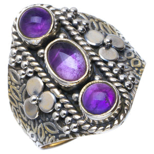 Natural Amethyst Handmade Unique 925 Sterling Silver Ring 9 B1920