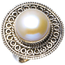 Natural River Pearl Handmade Unique 925 Sterling Silver Ring 7.25 B1926