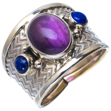 Natural Amethyst And Lapis Lazuli Handmade Unique 925 Sterling Silver Ring 8.5 B1928