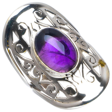 Natural Amethyst Handmade Unique 925 Sterling Silver Ring 8.25 B1957