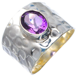 Natural Amethyst Handmade Unique 925 Sterling Silver Ring 8 B1970