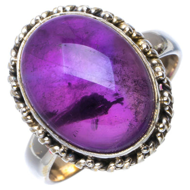 Natural Amethyst Handmade Unique 925 Sterling Silver Ring 9 B1974