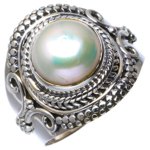 Natural River Pearl Handmade Unique 925 Sterling Silver Ring 7.5 B1983