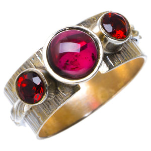 Natural Amethyst And Garnet Handmade Unique 925 Sterling Silver Ring 7.75 B1984