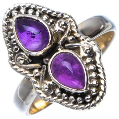 Natural Amethyst Handmade Unique 925 Sterling Silver Ring 8.75 B1993