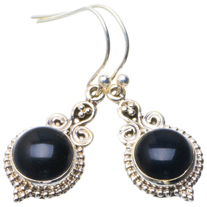 "Natural Black Onyx Handmade Unique 925 Sterling Silver Earrings 1.5"" B2039"