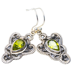 "Natural Peridot Handmade Unique 925 Sterling Silver Earrings 1.5"" B2062"