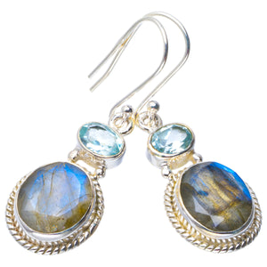 "Natural Labradorite and Blue Topaz Handmade Unique 925 Sterling Silver Earrings 1.75"" B2069"