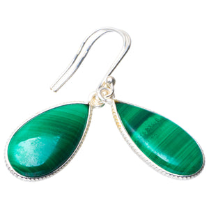 "Natural Malachite Handmade Unique 925 Sterling Silver Earrings 1.5"" B2070"