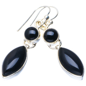 "Natural Black Onyx Handmade Unique 925 Sterling Silver Earrings 1.5"" B2072"
