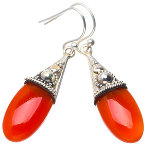 "Natural Carnelian Handmade Unique 925 Sterling Silver Earrings 1.75"" B2075"